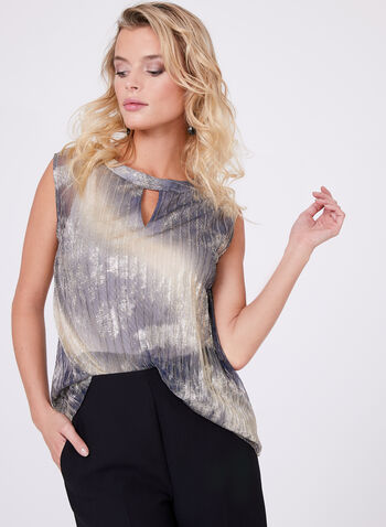 Pleated Metallic Chiffon Blouse, , hi-res