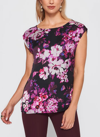 Floral Print Extended Sleeve Top , , hi-res