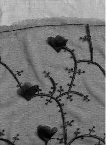 Floral Embroidered Chiffon Scarf, , hi-res