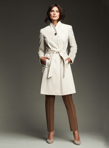 Ellen Tracy - Belted Wool Blend Wrap Coat, Off White, hi-res