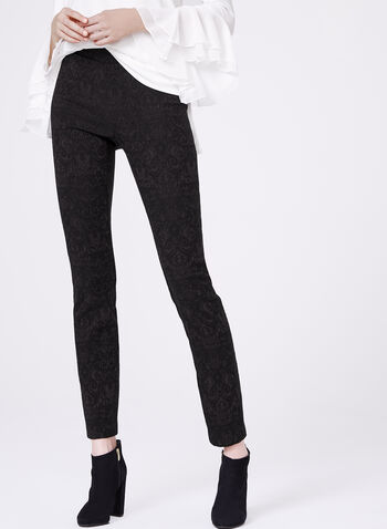 Pull-On Slim Leg Jacquard Pants, , hi-res