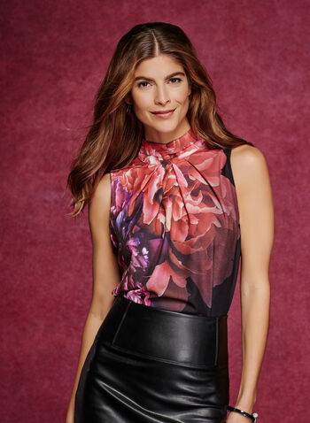 Floral Print Choker Neck Top , , hi-res