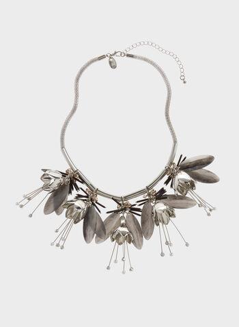 Collier métallique ras du cou à fleurs et perles, , hi-res