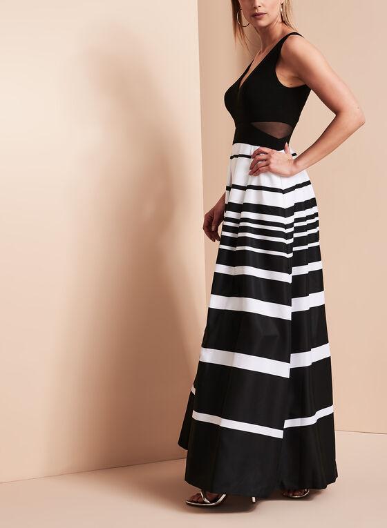 V-Neck Stripe Print Gown, Black, hi-res