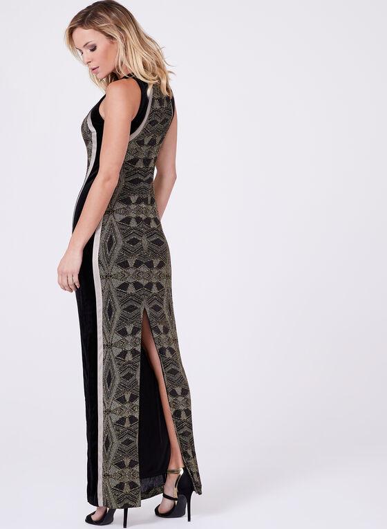 Velvet & Metallic Knit Gown, Black, hi-res