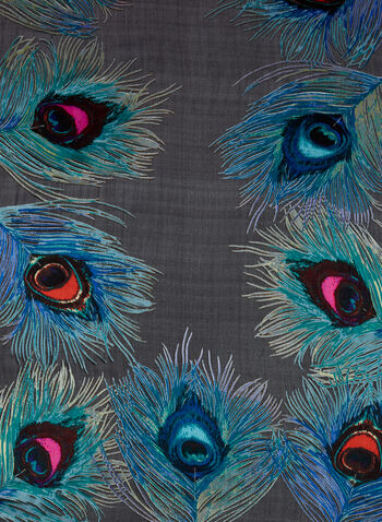 Feather Print Lightweight Scarf, , hi-res