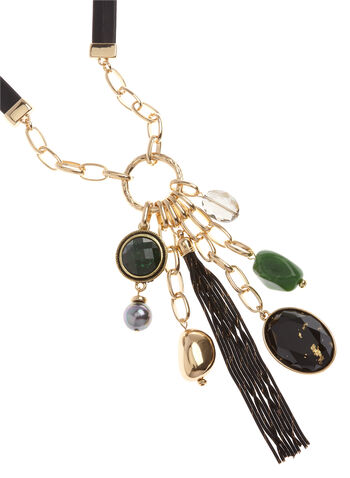 Mixed Stone Tassel Chain Necklace, , hi-res