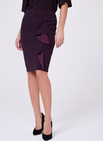 Ruffle Trim Pencil Skirt, , hi-res