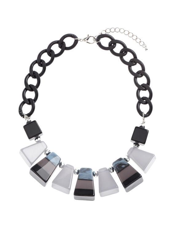 Jewel & Chain Necklace , Grey, hi-res