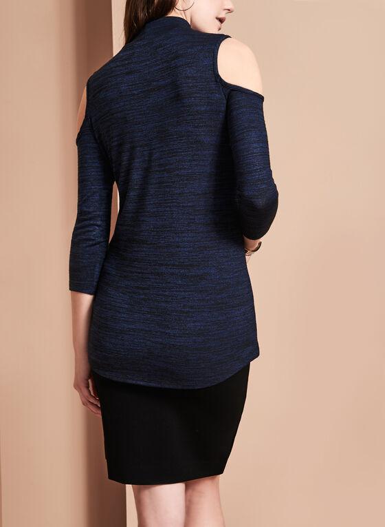Cold Shoulder Mock Neck Top, Blue, hi-res
