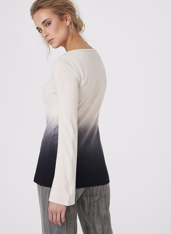 Flared Sleeve Ombré Knit Sweater , White, hi-res