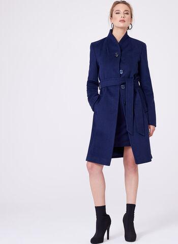 Ellen Tracy - Manteau en laine mélangée avec ceinture, Bleu, hi-res