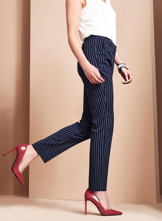 Striped Slim Leg Pants, Blue, hi-res