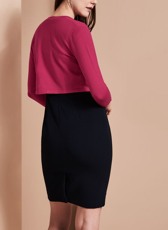 3/4 Sleeve Knit Bolero, Red, hi-res