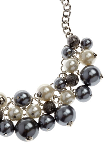 Pearl Two-Tone Cluster Necklace, , hi-res