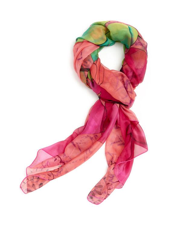 Floral Print Chiffon Scarf, Pink, hi-res