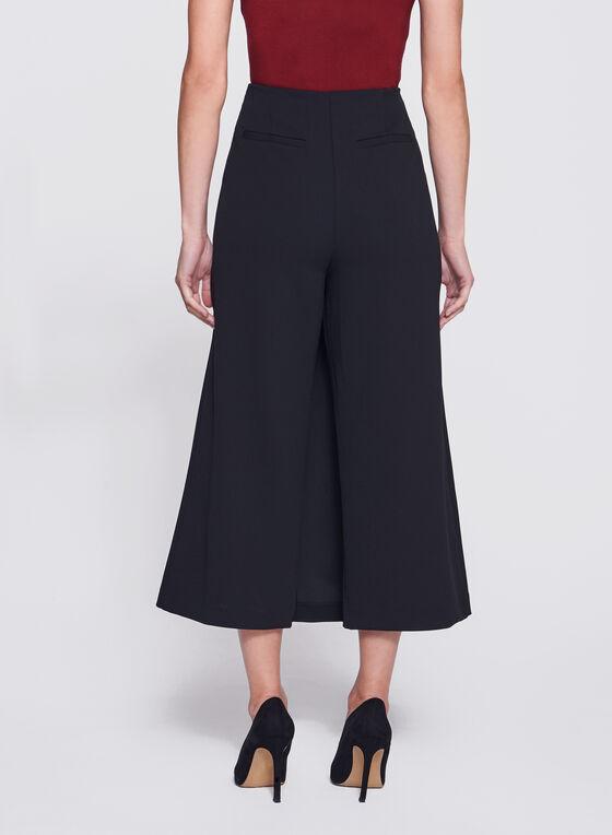 Faux-Wrap Culotte Pants, Black, hi-res