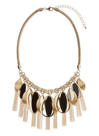 Geometric Leaf Bib Chain Necklace, , hi-res