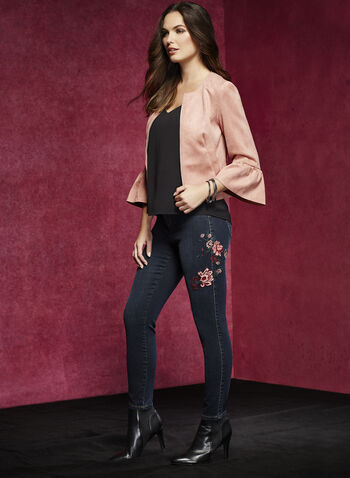 Embroidered Slim Leg Jeans, , hi-res