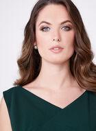 Asymmetric Neck Sheath Dress, Green, hi-res