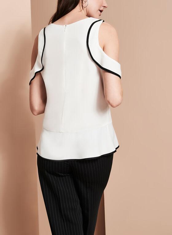 Ruffle Trim Cold Shoulder Blouse, Off White, hi-res