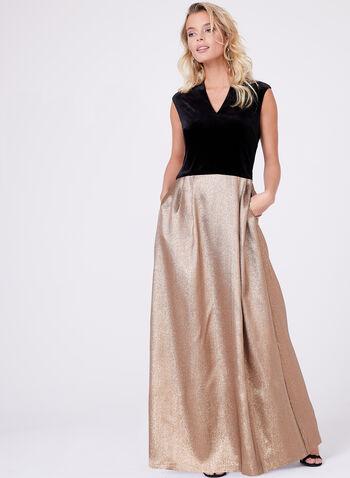 Ellen Tracy - Robe plissée dorée avec corsage velours, , hi-res