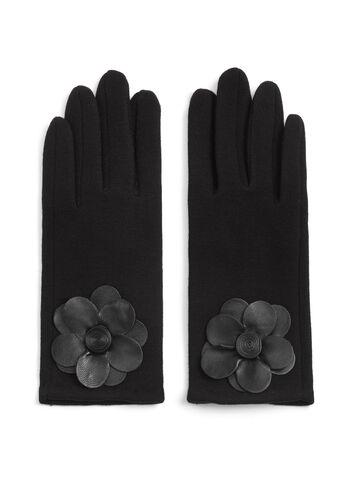 Wool Blend Flower Appliqué Gloves, , hi-res