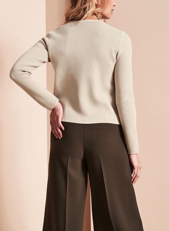 Notch Collar Knit Cardigan, Grey, hi-res