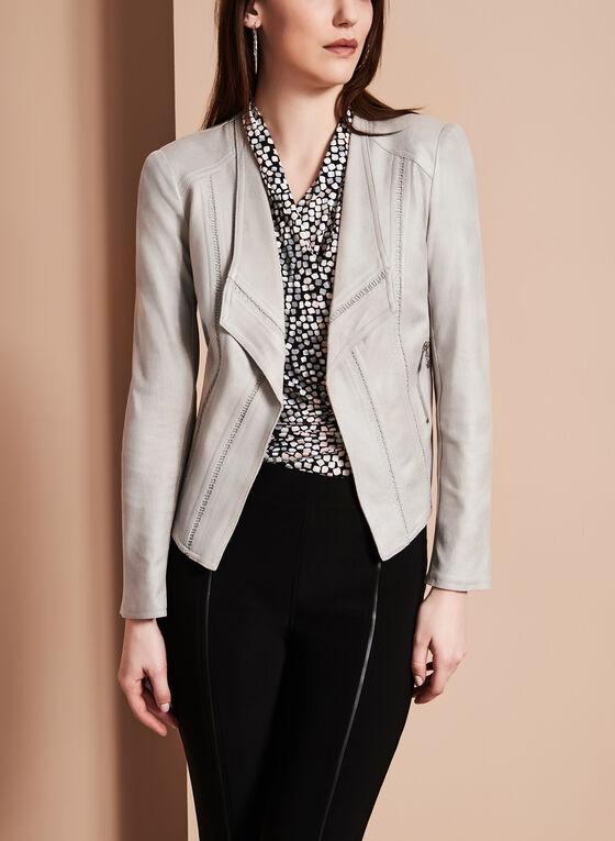 Faux Leather Cascade Jacket, Grey, hi-res
