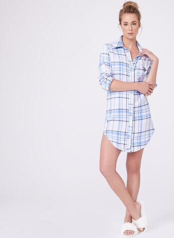 Tartan Flannel Night Shirt , , hi-res