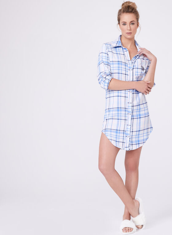 Tartan Flannel Night Shirt , Blue, hi-res