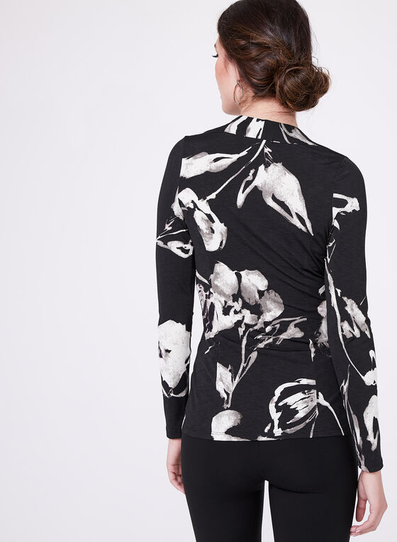 Floral Print Peplum Top , Black, hi-res