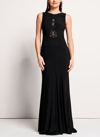 Beaded Mesh Jersey Gown, , hi-res