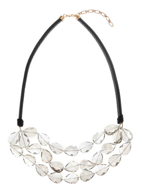 Beaded Teardrop Necklace, Grey, hi-res