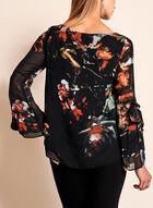 Floral Print Long Sleeve Blouse, Black, hi-res