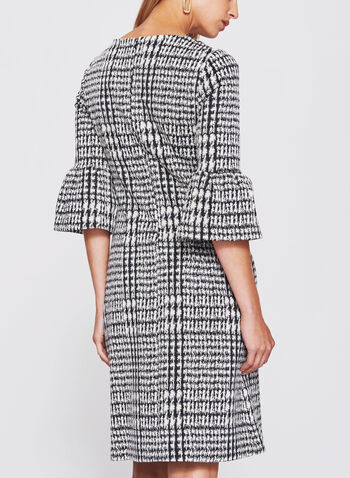 Abstract Houndstooth Ruffle Trim Dress, , hi-res