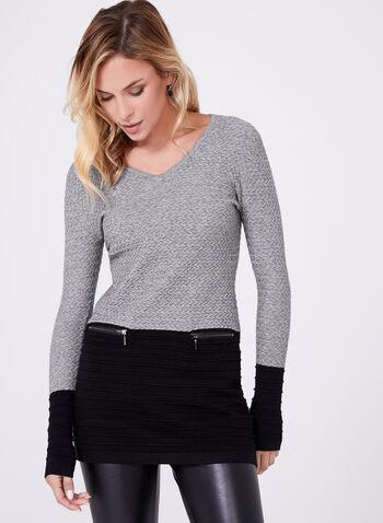 Colour Block Knit Tunic, Grey, hi-res