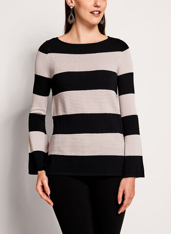 Bell Sleeve Stripe Print Sweater, , hi-res
