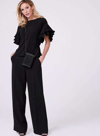 Pleated Ruffle Sleeve Top, , hi-res