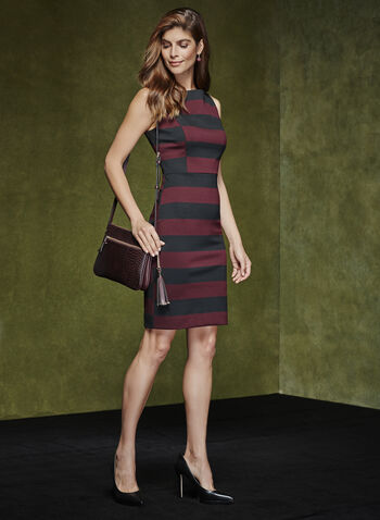 Sleeveless Stripe Print Dress, , hi-res