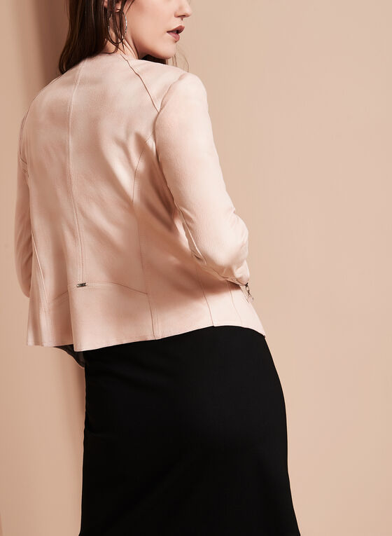 Faux Leather Cascade Jacket, Pink, hi-res