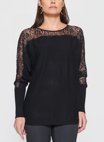 Lace Detail Dolman Sleeve Sweater, , hi-res