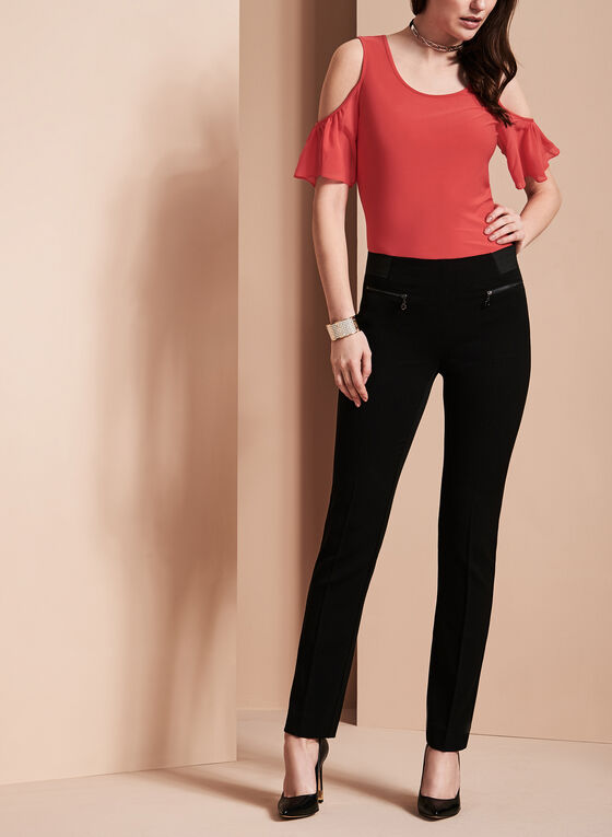 Bi-Stretch Slim Leg Pants , Black, hi-res
