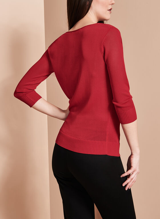 3/4 Sleeve Drape Neck Sweater, Red, hi-res