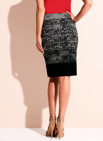 Graphic Print Jersey Pencil Skirt, , hi-res