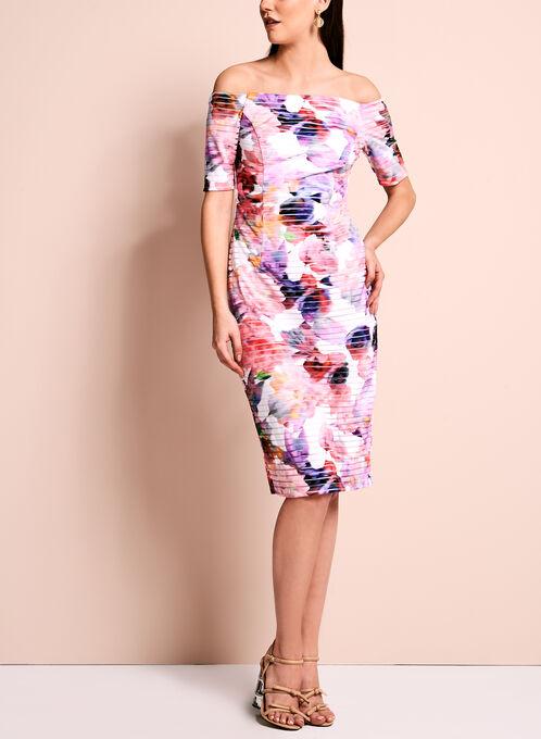 Off The Shoulder Floral Print Dress, Multi, hi-res