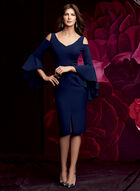 Maggy London - Cold Shoulder Ruffle Sleeve Dress, Blue, hi-res