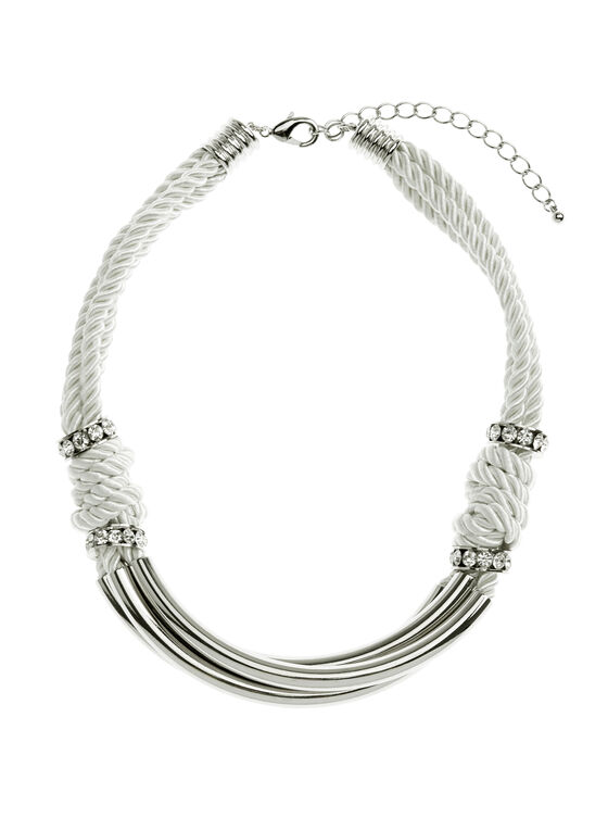 Triple Cord Crystal Embellished Necklace, White, hi-res