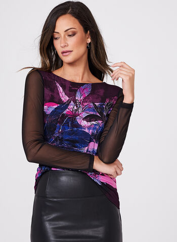 Floral Print Mesh Sleeve Top, , hi-res
