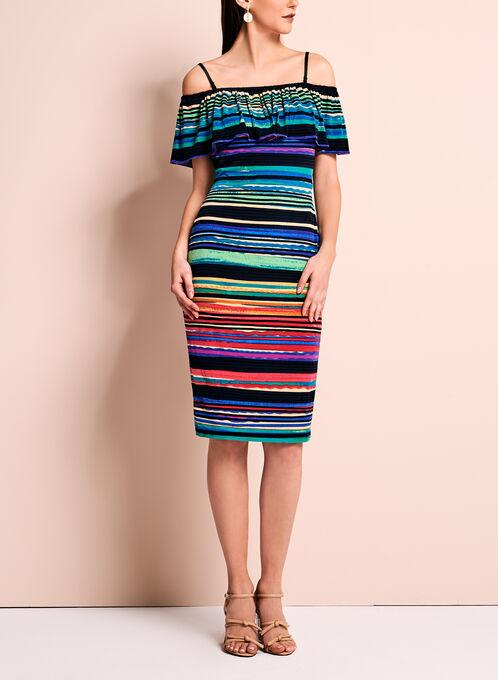 Off The Shoulder Stripe Print Dress, Multi, hi-res